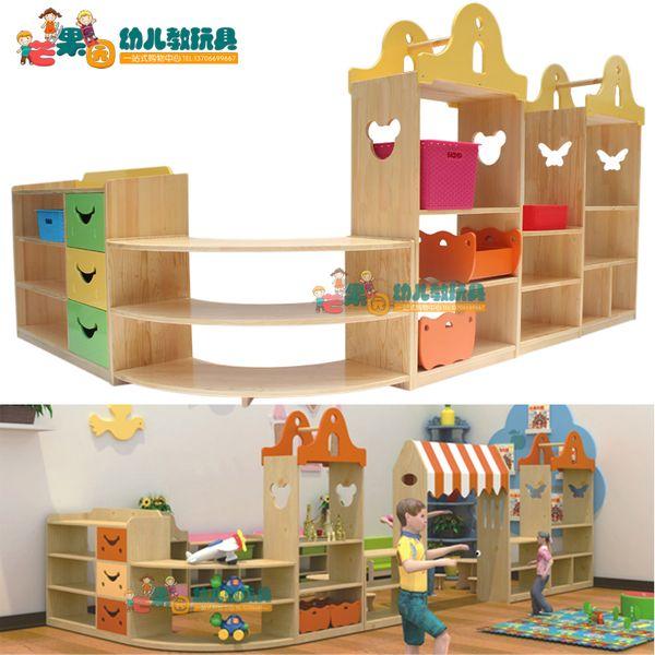 區域組合玩具櫃 早教幼兒園兒童儲物架收納架樟子松轉角整理櫃WS