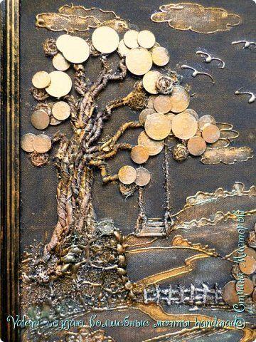 Картина панно рисунок Поделка изделие Ассамбляж Моделирование конструирование Плетение Импровизации на тему денежных деревьев Картон Клей Кофе Краска Монета Ракушки Шпагат фото 3