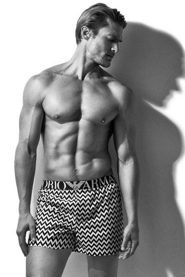 Model Jason Morgan appears in a black & white image for Emporio Armani's spring-summer 2016 underwear campaign.
