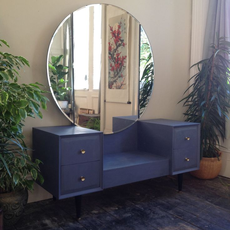 Vintage dressing table with circular mirror painted In Old Violet. by RecycledbyJessica on Etsy