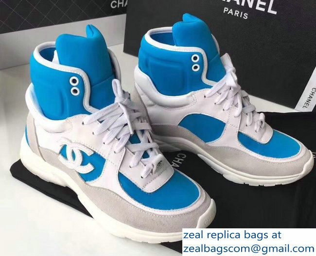 7a4f115e399d Chanel Fabric Lambskin and Suede Calfskin Sneakers G33726 White Blue 2018
