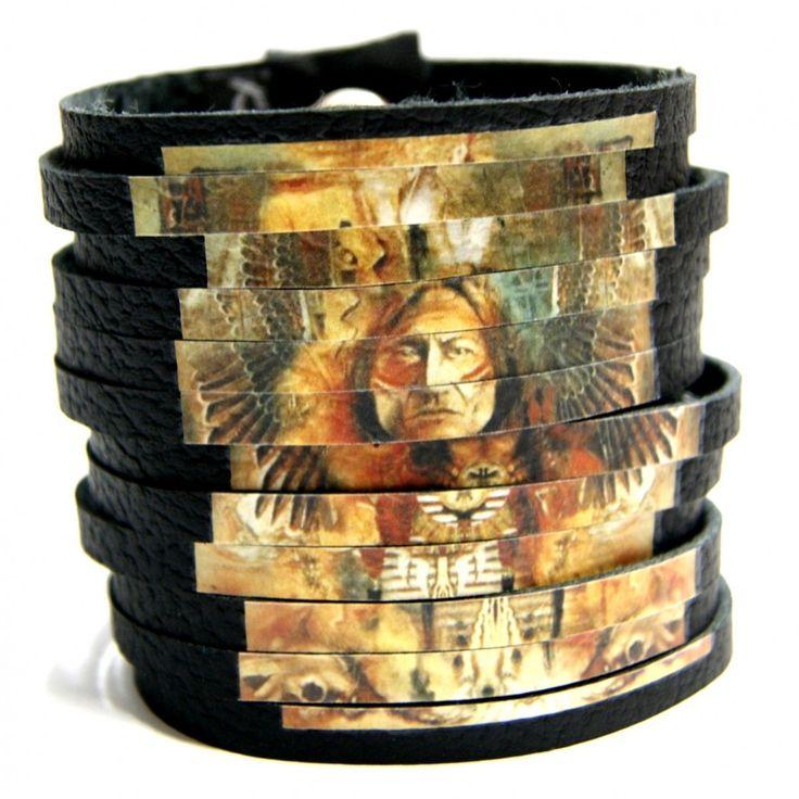 Geronimo – czarna skóra – Hady-Surowiec.pl   #bransoletka #geronimo #indianin #etno #biżuteria #bransoletki #handmade