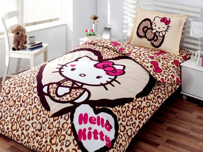 Hello Kitty Leopard Bedding Set Duvet Cover Set Single Twin Size
