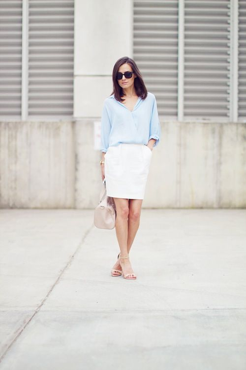 Pale blue + white.