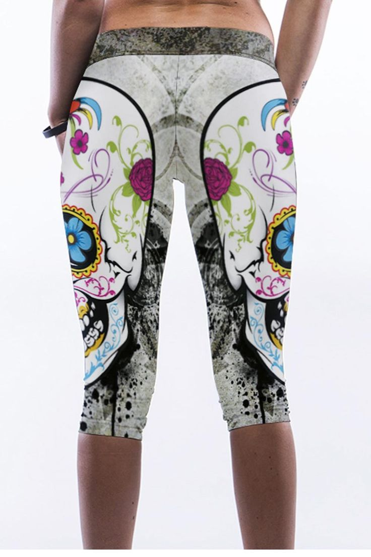 Sexy Skull Digital Print Stretch Knee Length Leggings Girls Women Pants Sexy Panti Photo bragas cortocircuitos