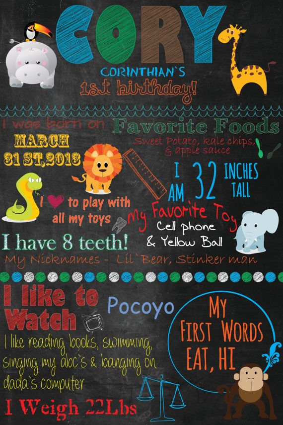 Digital File - Jungle Theme Chalkboard Custom birthday poster on Etsy, $20.00 CAD
