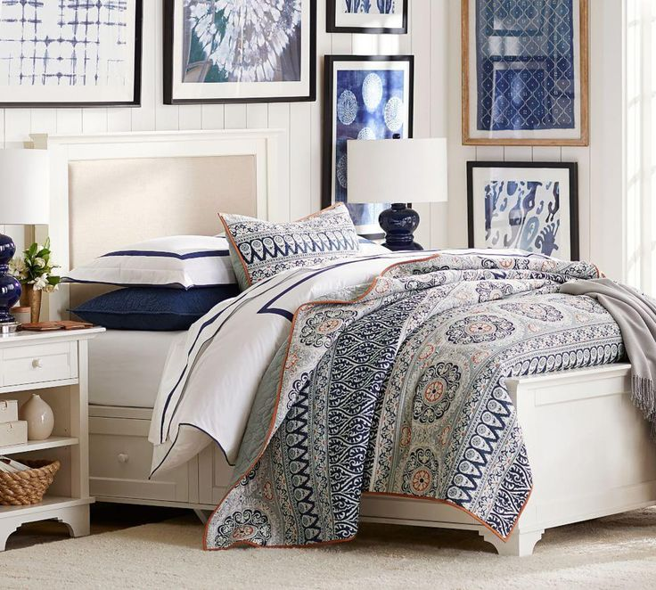 Cynthia Upholstered Storage Bed Pottery barn bedding