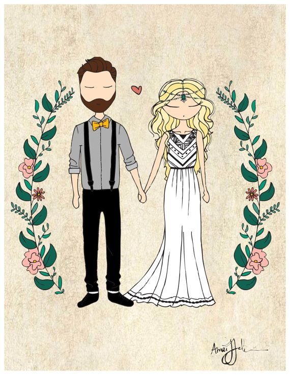 Custom HAND drawn wedding illustration that is then digitized. Can be used for wedding invitations, announcements, Save the Dates, gift idea, or