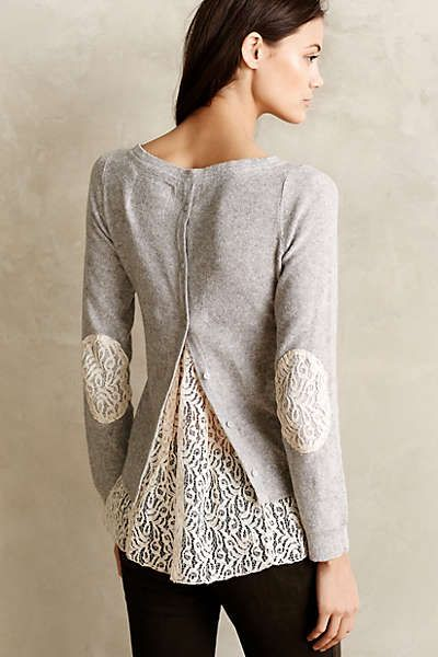 Anthropologie - Lace-Parted Pullover