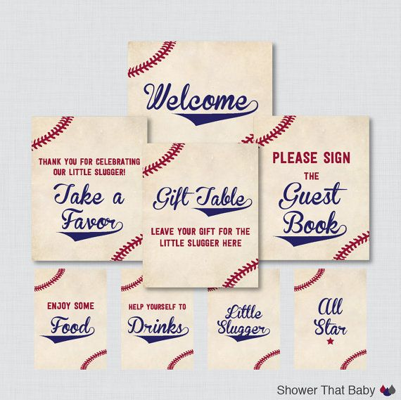 Printable Baseball Baby Shower Table Signs - EIGHT Signs! Welcome Sign, Favors Sign, etc - Instant Download - Baseball Baby Table Signs 0027