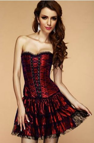 Midnight Red/Black Lace Corset Dress | Atomic Rocket Clothing ...