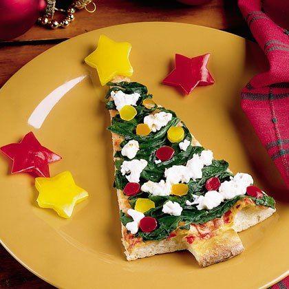 Pizza em forma de árvore de Natal