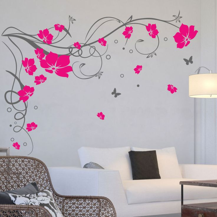 Flower Stickers For Walls Part   33: Large Butterfly Vine Flower Wall  Stickers / Wall