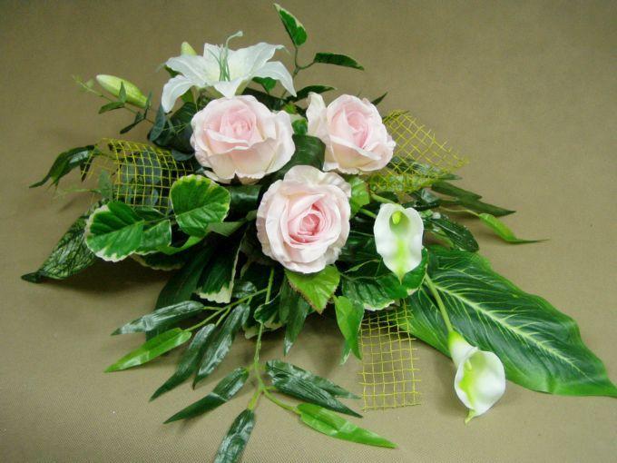 LILIA biała RÓŻE różowe KALIJKI 1060.3 ukos stroik na grób Kompozycje kwiatowe Marko604