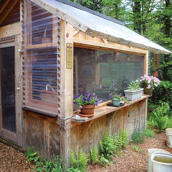 A couple in Vermont has created potting sheds, a greenhouse and more from repurposed wood pallets.data-pin-do=