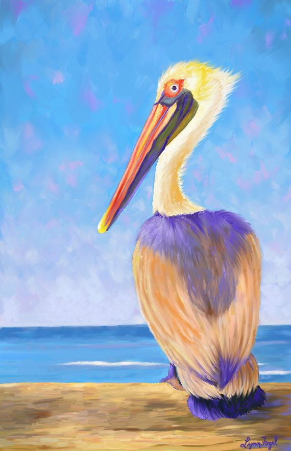 Pelican Painting pelican prints bird art birds in art by LynnFogel