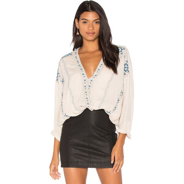 Free People Crescent Moon Embroidered Blouse (€87) ❤ liked on Polyvore featuring tops, blouses, free people blouse, surplice blouse, surplice top, free people tops and cross over top