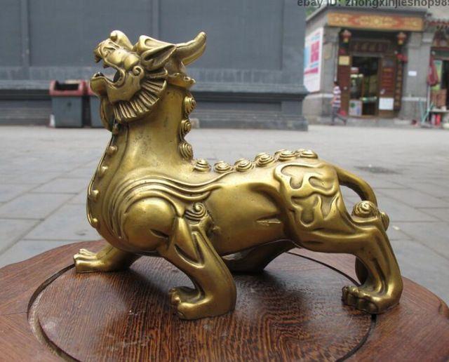 Chinese puur messing gesneden paleis gates evil fu foo hond leeuw kleine standbeelden