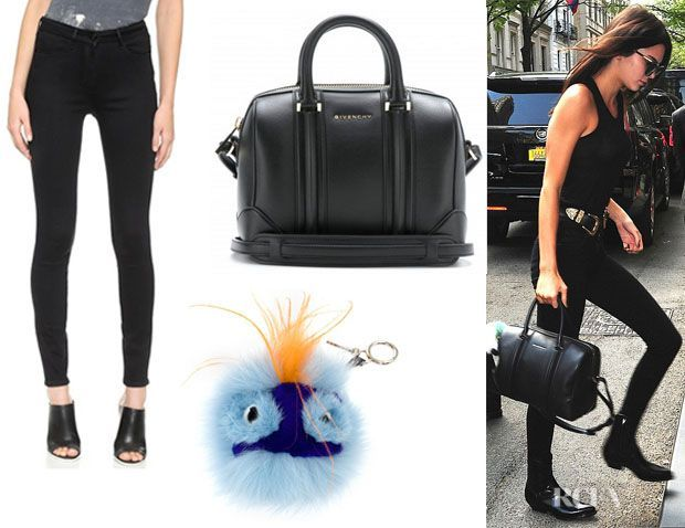 Who: Kendall Jenner wearing 3x1 channel seam skinny jeans, Givenchy 'Lucrezia Mini' bowling bag and Fendi 'Dawny Bag Bug' charm keyring Shop: 3x1 Jeans Sho