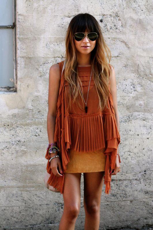 orange on orange outfit