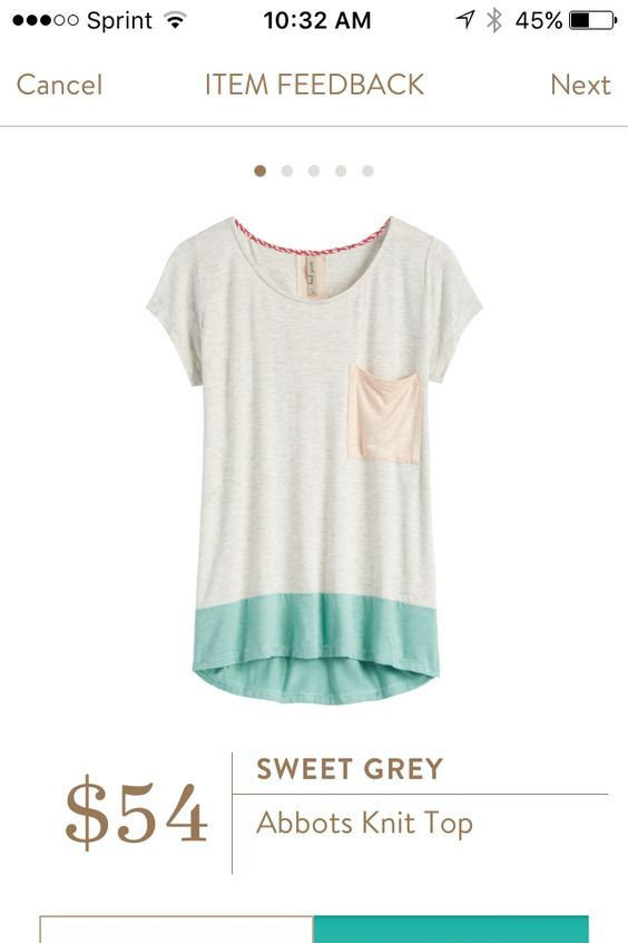 Stitch Fix 2017 Sweet Grey Abbots knit top. Cream with color block pocket and bottom. This is the most comfortable shirt I own. Pair with jeans or shorts. So cute for Spring or Summer days