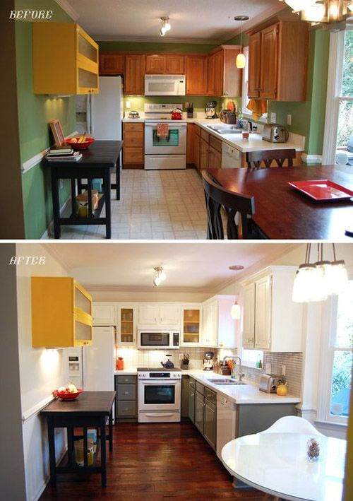 kitchen makeover. Grey lowers and white uppers- the hit of yellow makes it that much better.