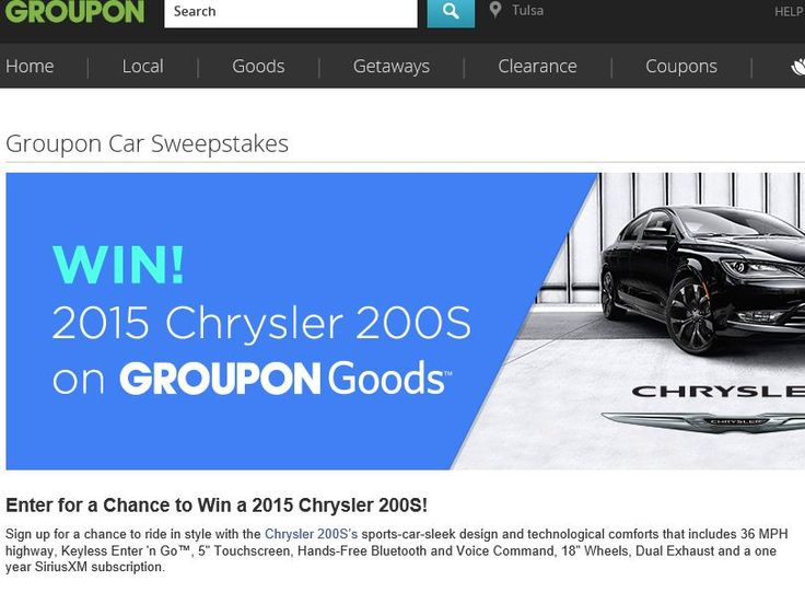 Enter The Grouponu0027s Car Sweepstakes For A Chance To Win A Chrysler 200 S  And $5,000