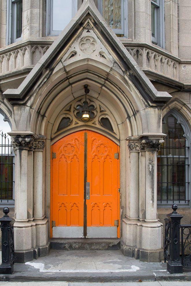 bright orange church door