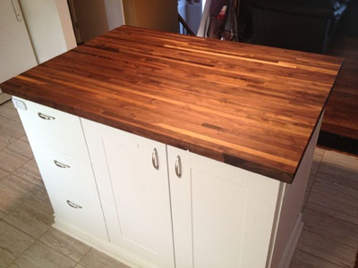 American Walnut Butcher Block is beautiful and unique in this customer kitchen!