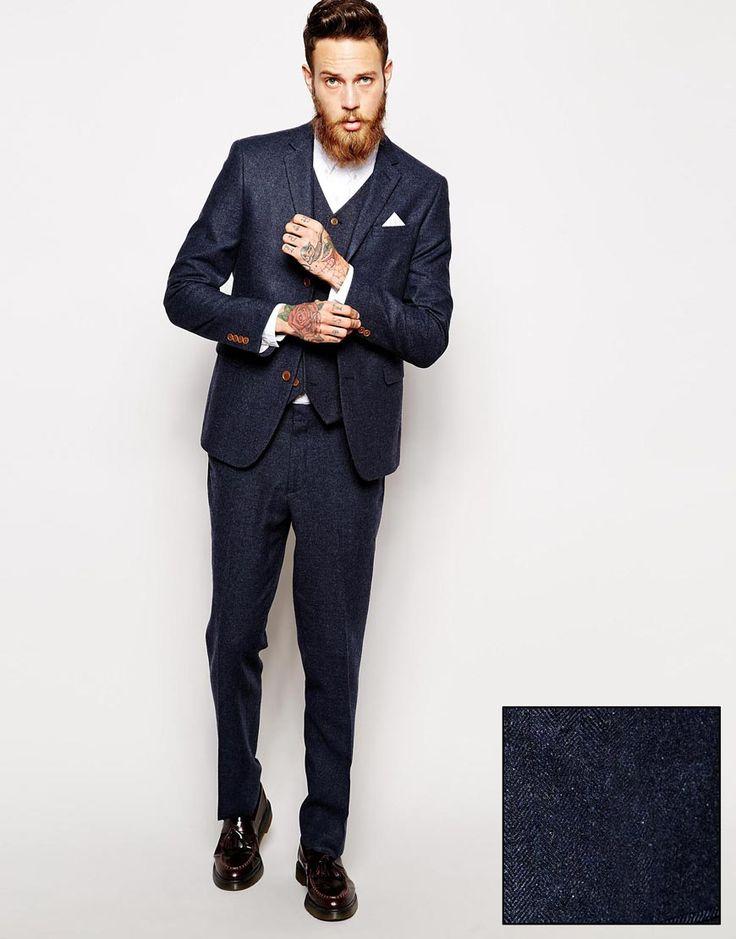 Image 1 ofASOS Skinny Fit Suit in Herringbone in Navy