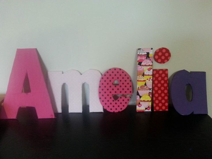 Cardboard letters, covered in fabric!