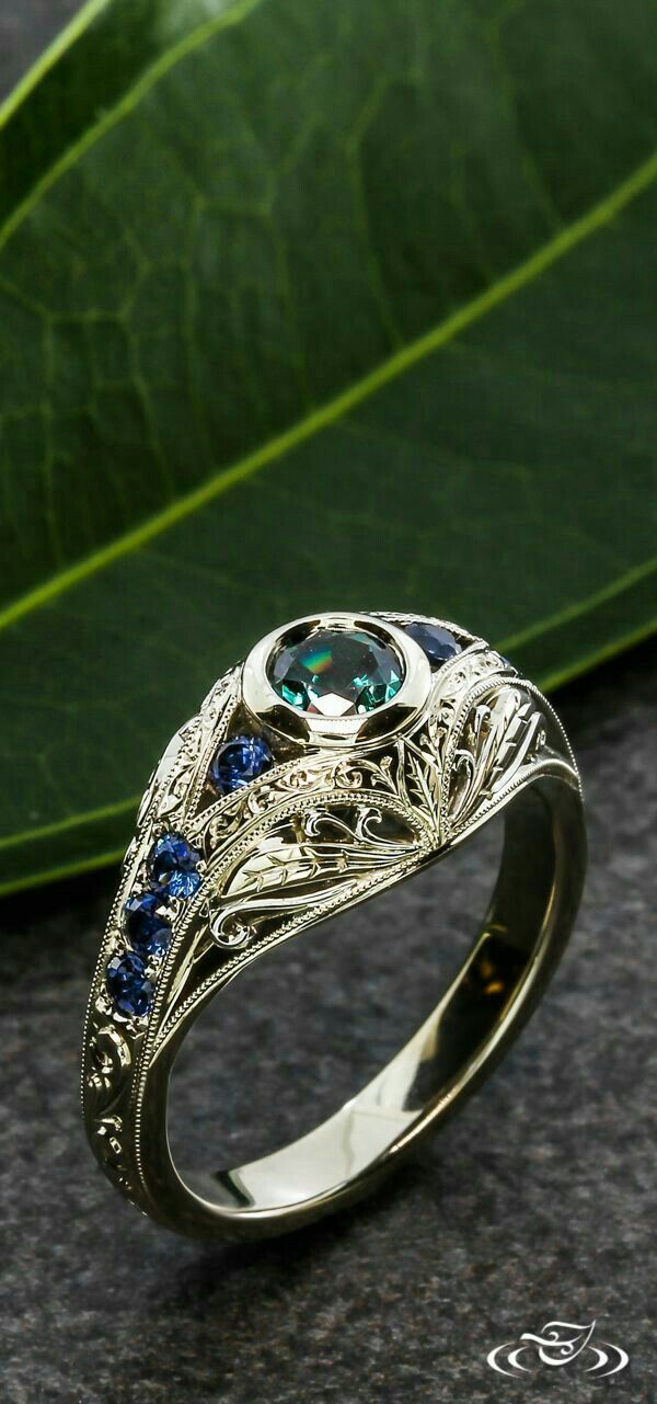 EDWARDIAN ALEXANDRITE AND SAPPHIRE ENGAGEMENT RING by GREENLAKE JEWELRY WORKS