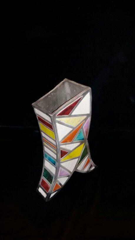 Vaso arlecchino in ceramica, tecnica raku, fatto a mano pezzo  unico.