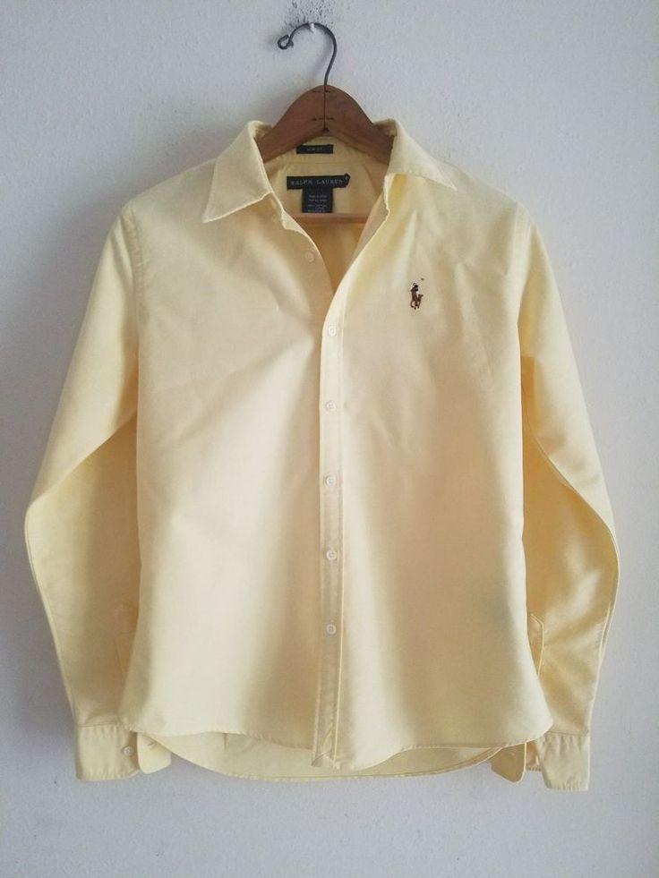 Women's Ralph Lauren Yellow Slim Fit Cotton Oxford Shirt Size 6Ebay/Instagram: ClothesForSale247 Poshmark: Seconds2Love Discounts for Followers