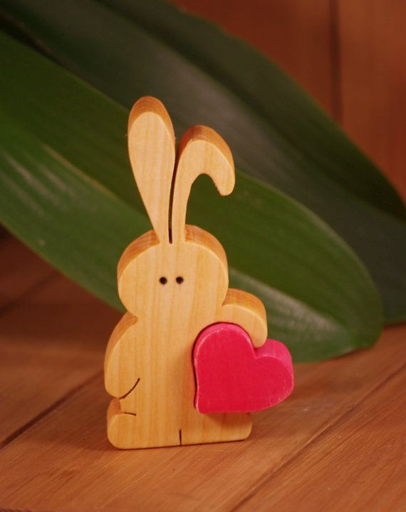 Little Bunny carrying lots of love easter by WoodMetamorphosisUK