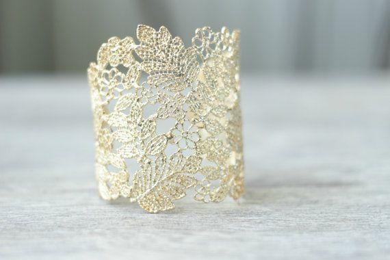 Lace Bridal Cuff Bracelet Gold Lace Floral by EdenLuxeBridal, $48.00