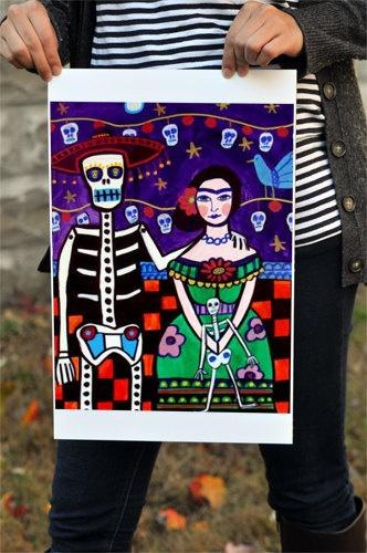 Frida Kahlo Day of the Dead Mexican Folk Art by HeatherGallerArt, $24.00