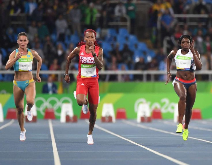 Track and field at the Rio Olympics  -    Michelle-Lee Ahye (TTO) and Asha Philip (GBR) compete in a women's 100-meter heat.