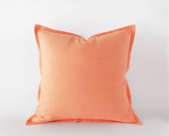 Peach linen pillow cover with a flange in 40x40 cm by EllensAlley