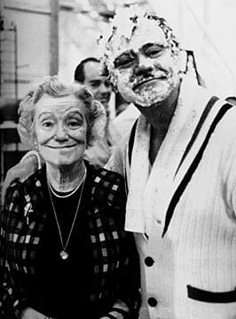 Jack Lemmon and his mother, Mildred on the set of The Great Race (1965) - you can sure see where he got his ability to mug for the camera!