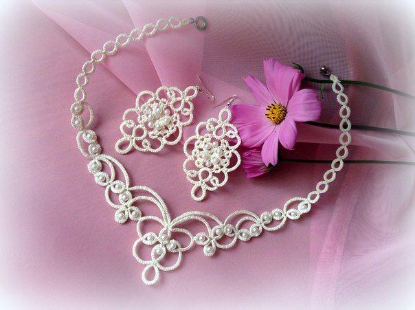 Для самых романтичных невест нежные свадебные кружевные украшения в технике фриволите!... фото #1