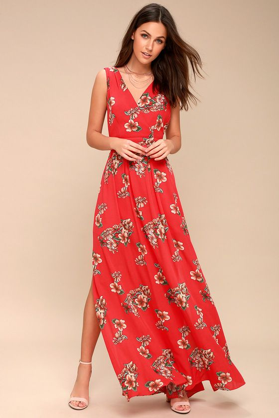 0476587a1b27 Afternoon Tea Coral Red Floral Print Tie-Back Maxi Dress in 2019 ...