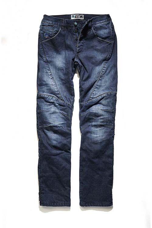 Pantalón Jeans Hombre PMJ Titanium Destinados a los pilotos que buscan la máxima protección  con certificación CE 13595-1. Denim de algodón elástico de alto espesor de 12,5 onzas. Totalmente reforzado con tela 100% TWARON® forrada red balística. Protecciones aprobadas CE 1621-1 rodillas ajustable y extraíble desde el exterior. - Protectores de  caderas extraíble CE 1621-1.