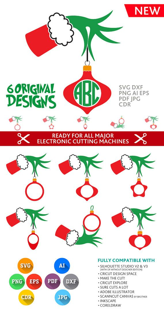 Grinch SVG Grinch Hand Svg Grinch Monogram Frames Cut Files SVG DXF Silhouette Studio Png Eps Pdf Jpg Ai Cdr Silhouette, Cricut