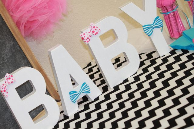 Decorated letters at a Baby Shower #babyshower #letters