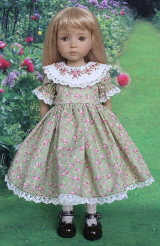 """""""фамильные розы"""" с рукавами-фонариками платье выкройка для 13"""" effner little darling dolls"""