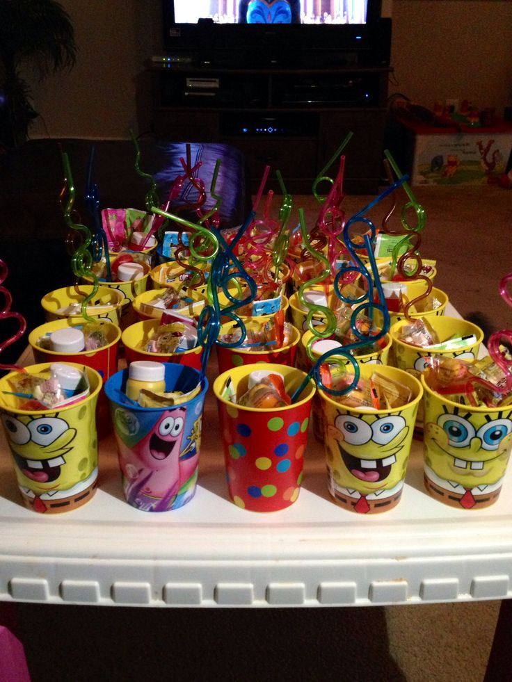 Sponge bob party favors I created. Easy and reusable.