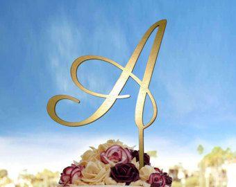 Letra A, letra Topper de la torta del monograma con sus iniciales, pastel de bodas Topper monograma de carta en Color oro o Custom, CT #031