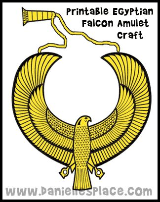 Egyptian Falcon Amulet Printable Craft for Kids on www.daniellesplace.com