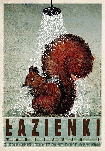 Łazienki Warszawskie, plakat z serii Polska, Ryszard Kaja
